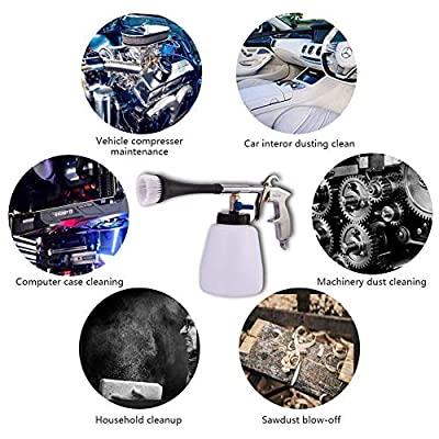 JSCARLIFE Car Cleaning Gun Interior Washing Tool,Pressure Air Pulse Washer Brush Tool,with Foam Bottle, Washing Nozzle Sprayer Gun Air Pulse Equipment: Automotive