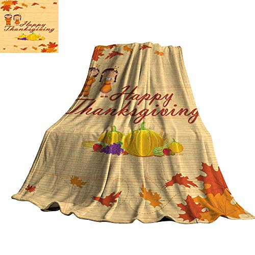 WinfreyDecor Kids Thanksgiving Super Soft BlanketsChildren in Native American Costume Preserving Indigenous Heritage 30