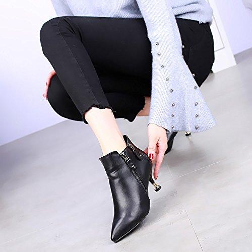 KHSKX-Neue High Heels Stiefel Sind Gut Mit Der Weiblichen Seite Reißverschluss Und Schwarz Samt Allen Mit Martin Stiefel black