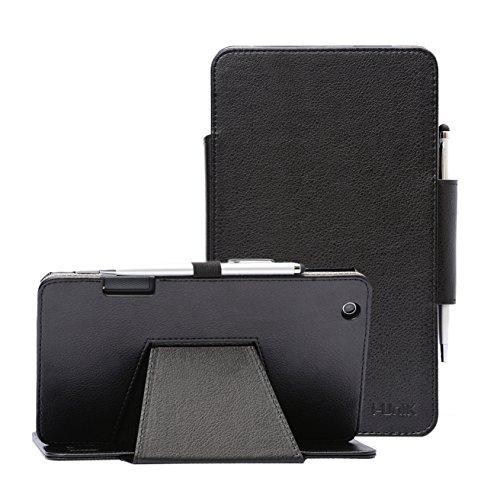i-UniK AT&T TREK 2 HD Case (2016) Model #6461A 8 inch Tablet Support Sleep Awake Function Cover Case with Bonus Stylus (Black)