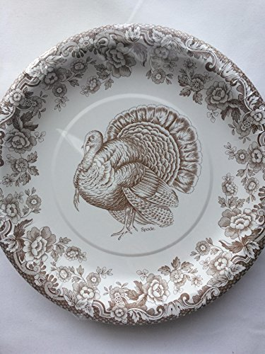 CR Gibson Spode Woodland Brown White Dinner Plates 16 (Woodland Turkey Service Plate)
