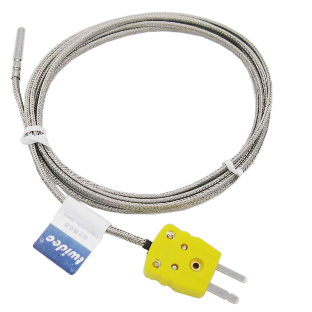Twidec /2M with Plug Stainless Steel K-Type Sensor Probes Metal HeadProbe for Thermocouple Sensor & Meter Temperature Controller(Temperature Range:0~600°C) MT-6340-C 4x30MM