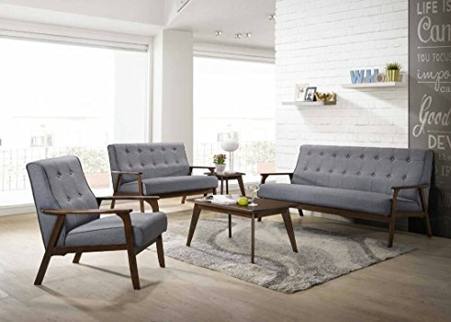 AS Quality 3 pieces 3 Pcs Couch Love Seat Single Arm Chair All 3 Included