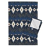 Roostery Native American American Indian Navajo Dream Catcher Navy Southwest Bohemian Tea Towels Dream Catcher (Navy) by Nouveau Bohemian Set of 2 Linen Cotton Tea Towels