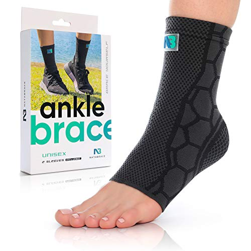 NATABRACE Ankle Brace Support Compression Sleeve (ONE PAIR) for Injury Recovery, Joint Pain. Plantar Fasciitis Foot Socks with Arch Support, Eases Swelling, Heel Spurs, Achilles Tendon (Medium, Black)