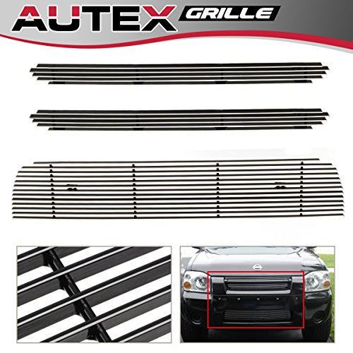 Nissan Frontier Grille Insert - AUTEX Main Upper+Lower Billet Grill Insert Compatible with Nissan Frontier 2001 2002 2003 2004 Grille Combo N87987A