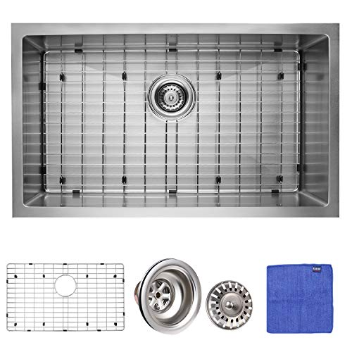 Enbol SDC-3018-SK, 30 Inch Extremely Durable Silver Color Nano Titanium Plating Fully Coating Undermount Single Bowl Stainless Steel Kitchen Sink with Bottom Grid and - Plating Color