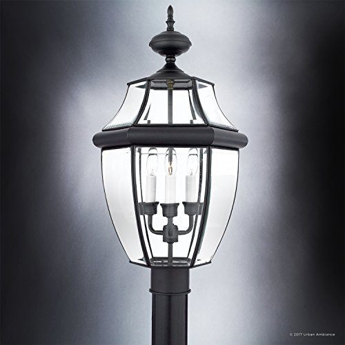Luxury Colonial Outdoor Post Light, Large Size: 23''H x 12.5''W, with Tudor Style Elements, Versatile Design, High-End Black Silk Finish and Beveled Glass, UQL1150 by Urban Ambiance by Urban Ambiance (Image #3)