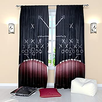 Sports Curtains Rugby American Football. Window Treatment Curtain Panel  (Set Of 2) Living
