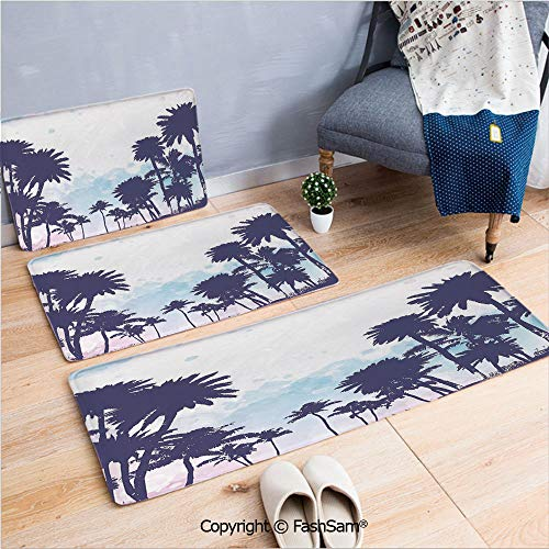 FashSam 3 Piece Flannel Bath Carpet Non Slip Miami South American Plant Forest Tropic Natural Palm Trees Art Print Front Door Mats Rugs for Home(W15.7xL23.6 by W19.6xL31.5 by W17.7xL53)