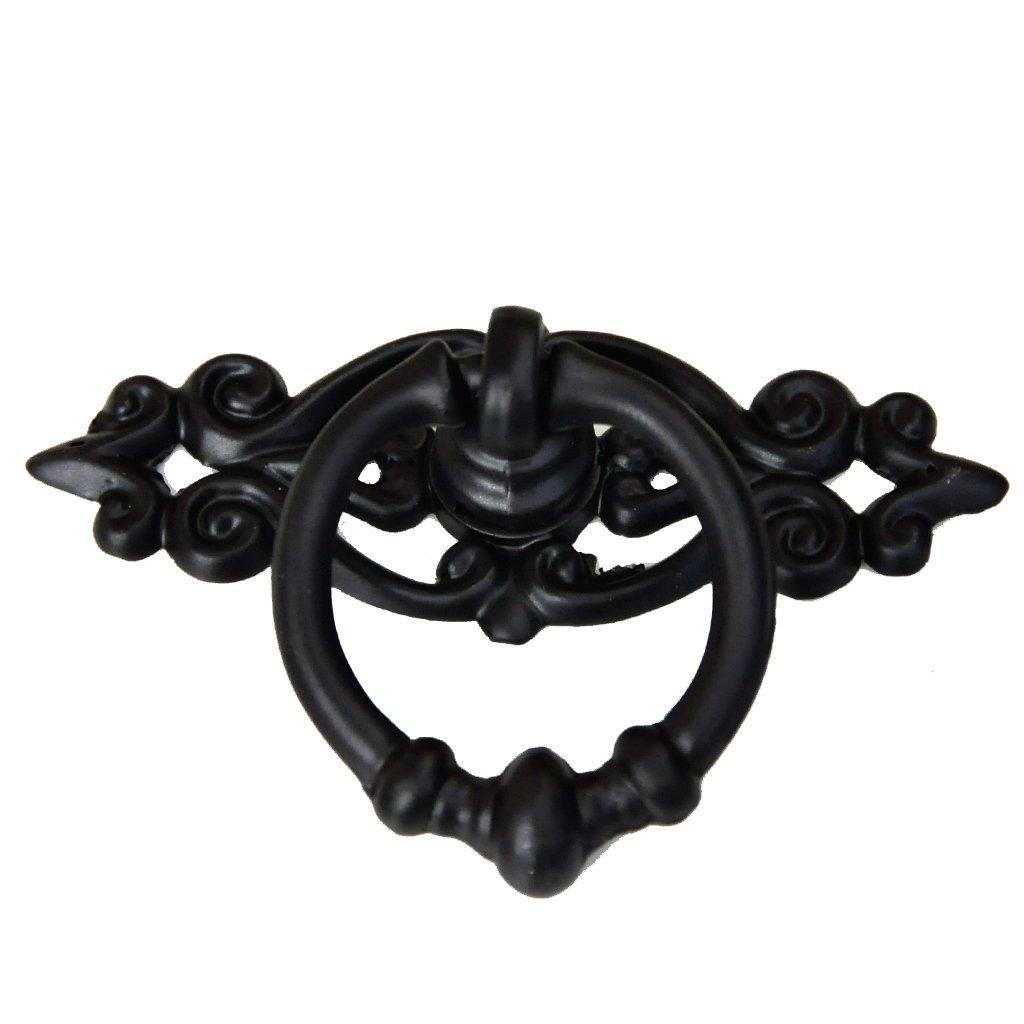 Vintage Black Wardrobe Cabinet Door Cupboard Drawer Pull Ring Handle Knob Generic