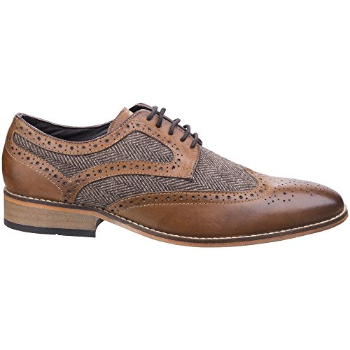 Lambretta Mens Fenchurch Combi Lace Up Brogue Oxford Smart Shoes Tan