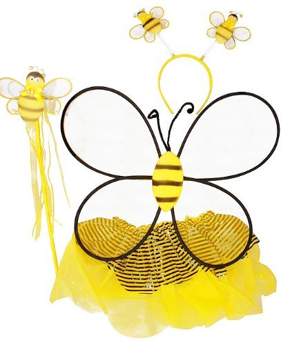 Bee Tutu Costumes (Girls Bumble Bee 4 Piece Tutu Set (Black & Yellow, One Size))