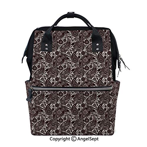 Hot Sale Backpack Nappy Bags,Traditional Ethnic Folk Art Textured Cultural Retro Twisted Leaves Classical Art Decorative Black Gold,15.7 inches,Wide Shoulder Straps Water Resistant from oobon