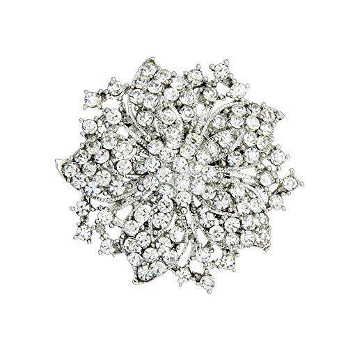 (Ezing Fashion Jewelry Beautiful Silver Plated Rhinestone Crystal Brooch Pin For Woman (white))