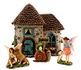 "Pretmanns Fairy Garden Accessories – House Kit with Miniature Fairies & Welcome Sign – Fairy House is 6"" High & Door Can Open – 4 Pieces For Sale"