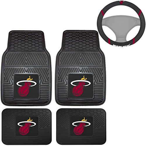 Nba Mats (5pcs NBA MIAMI HEAT RUBBER FLOOR MATS & STEERING COVER SET for CAR TRUCK VAN)