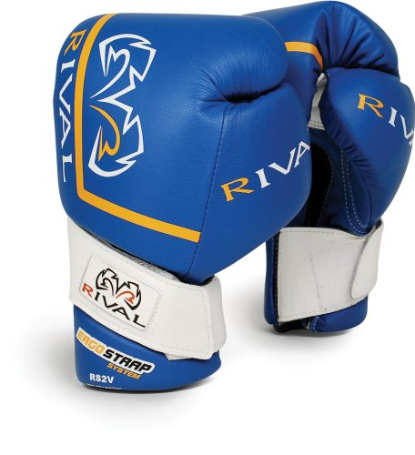Rival High Performance Hook-and-Loop Sparring Gloves, Blue, 16-Ounce
