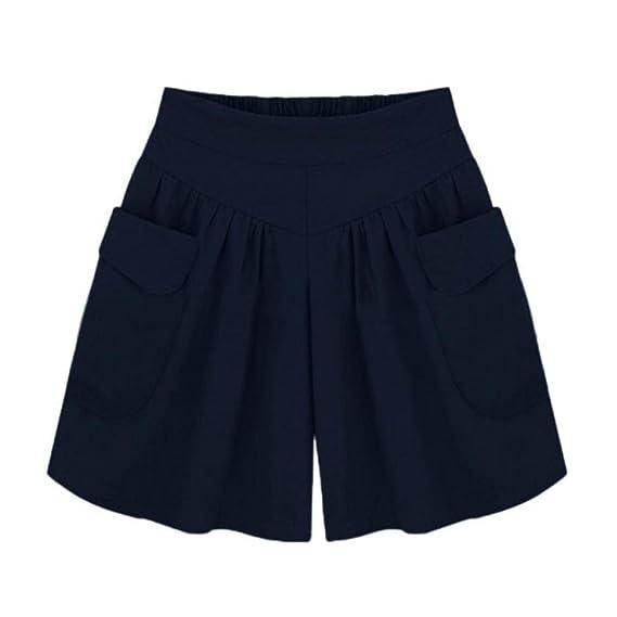 VENMO Pantalones Mujer,Pantalones Cortos Mujer,Pantalones Cortos Sueltos sólidos de Talla Grande para