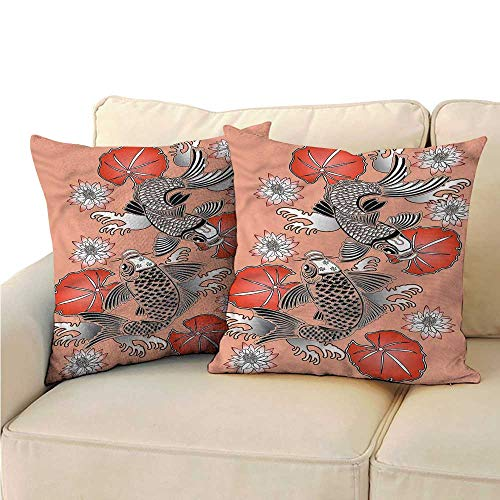 Godves Square Pillow Case Cover Koi Fish Traditional Japanese Lily Soft, Breathable and Hypoallergenic 16