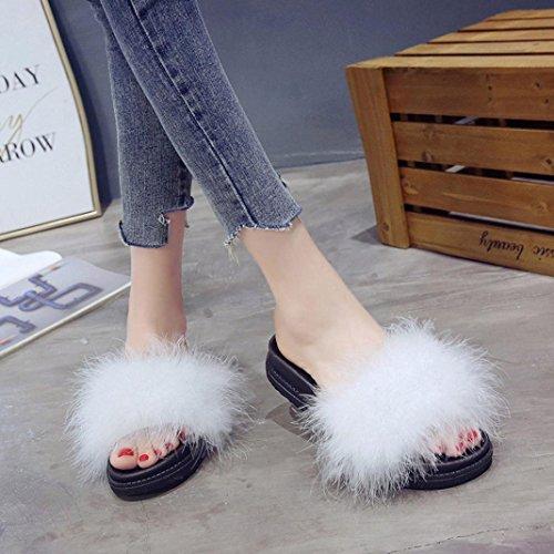 Slipper Slip Inkach Womens Fur Flops On ❤️ Wedges Fluffy Flat Shoes Sandals Faux White Flip r8FP8ZwqHx