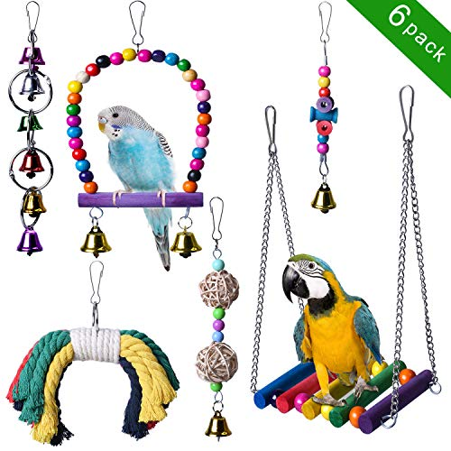 (KOLINLOV 6pcs Bird Swing Toys, Parrot Chewing Hanging Bell Toys Bird Cage Hammock Perch Toys for Small Parrots, Parakeets Cockatiels, Conures, Macaws, Parrots, Finches, Love Birds)