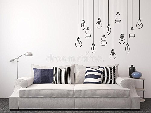 Light Bulbs Hanging - Mural Wall Decal For Home Bedroom Living Room Removable Wall Stickers (J72) (Wide 40''x37'' Height) by cryptonite