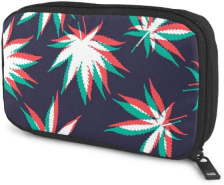 Organizador de Almacenamiento de Cables Organizador de Bolsa electrónica de Hoja de Cannabis de Arte Colorido Natural para Varios Cables USB Cargador de Auriculares Organizador de Cables y Cables par
