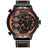 アナログ 腕時計 メンズ レザー ベルト 大文字盤 ビジネス ビッグフェイス 3タイムズ ウォッチ ファション 時計 日付 防水 クォーツ ムーブメント Curren 8262G ブラック オレンジ