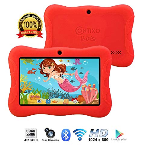 Contixo Kids Tablet K3 | 7 Display Android 6.0 Bluetooth WiFi Camera Parental Control for Children Infant Toddlers Includes Tablet Case (Red)