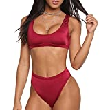 Dixperfect Two Pieces Bikini Sets Swimsuit Sports Style Low Scoop Crop Top High Waisted High Cut Cheeky Bottom (L, Burgundy)
