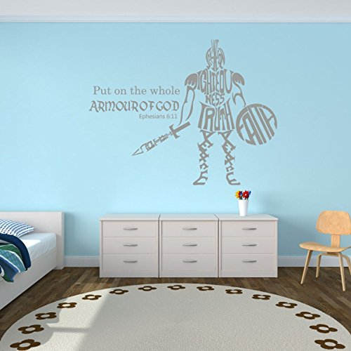 Whole Armor of God - Ephesians 6:11 - Bible Verse Wall Decals, Scripture Wall Art, Christian Gifts For Children, Christian Home Decor For Bedrooms, Playrooms, or Wall Decals For Living Room