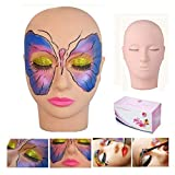 Training Head, WAM Direct Mannequin Head with 10 Pairs False Eyelashes and 1PCS Eyelash Clip Tweezer for Practice Make Up Eye False Lashes Eyelash Extension Lip Practice Model