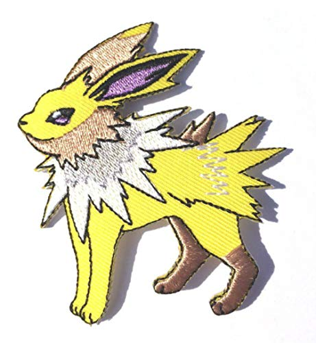 Jolteon Patch (2.75 Inch) Embroidered Iron or Sew on Badge Applique Souvenir Costume Lightning Electric Emblem]()