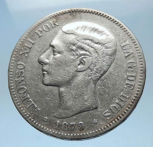 ES 1879 1879 SPAIN King ALFONSO XII Antique AR 5 Pesetas Good