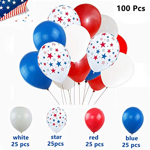 4th of July decorations - White Red Blue and Star Latex Balloons for Memorial Day, 4th of July Party and Other Patriotic Decorations - 100 pack