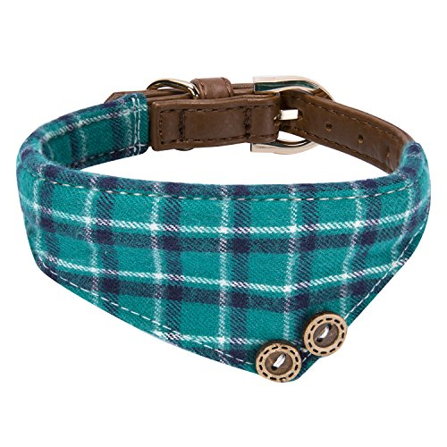 StrawberryEC Extra Small Dog and Cat Collar with Cute Plaid Bandana. Adjustable 5 Holes to Also Fit Puppy and Kitten. Quality PU Leather and Durable Polyester (Bandana-Peacock Green Plaid)