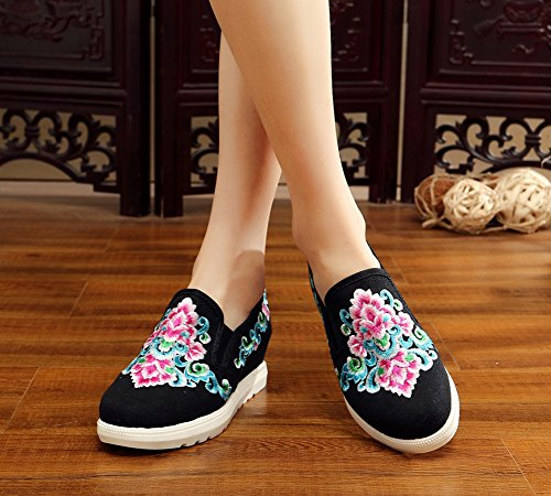 Avacostume Donna Ricamo Fiore Zeppa Casual Scarpe Sneakers Mocassini Nere
