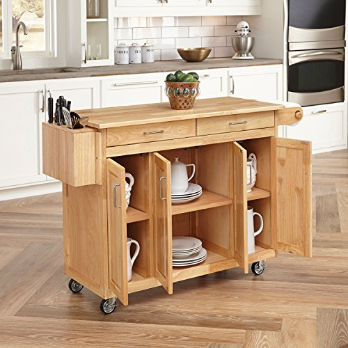 Home Styles 5023-95 Wood Top Kitchen Cart with Breakfast Bar, Natural Finish - smallkitchenideas.us