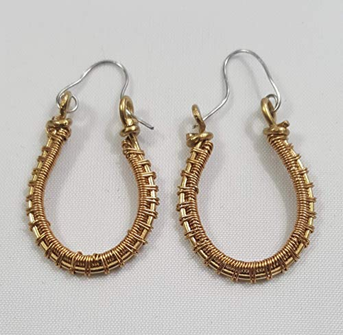 Bright Gold Brass Wire-Woven Wire Wrapped Elongated Hoop Earrings - 1