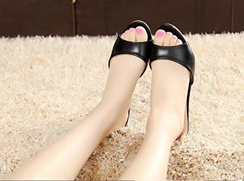 Ajunr Moda/elegante/Transpirable/Sandalias Zapatillas Sexy 5cm tacones altos Remolcar La Antideslizante Zapatos Negros ,39 38