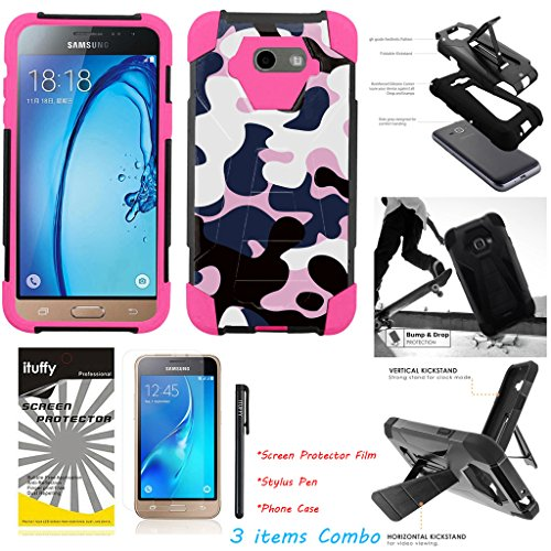 (For Samsung Galaxy J3 Prime /Amp Prime 2 / Sol 2 / Express Prime 2 /ITUFFY 3items: LCD Film+Stylus Pen+[Dual Layer] [Impact Resistance] [KickStand] Hybrid Armor Case White Pink Camo - Pink)