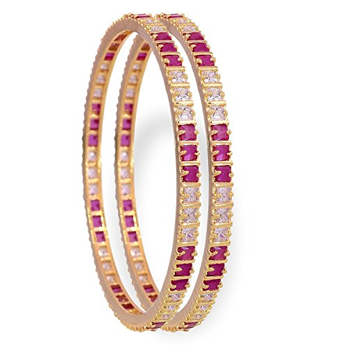 RATNAVALI JEWELS CZ Zirconia Gold Tone Red White Diamond Elegant Bollywood Indian Bangles Jewelry Women 12 Piece Indian Bangle Set