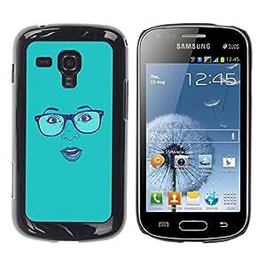 YiPhone /// Prima de resorte delgada de la cubierta del caso de Shell Armor - Blue Woman's Face Sexy Glasses Lips - Samsung Galaxy S Duos S7562