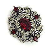 DREAMLANDSALES Antique Gold Tone Geometric Foliate Filigree Oval Shaped Dark Red Art Deco Brooch (Red)