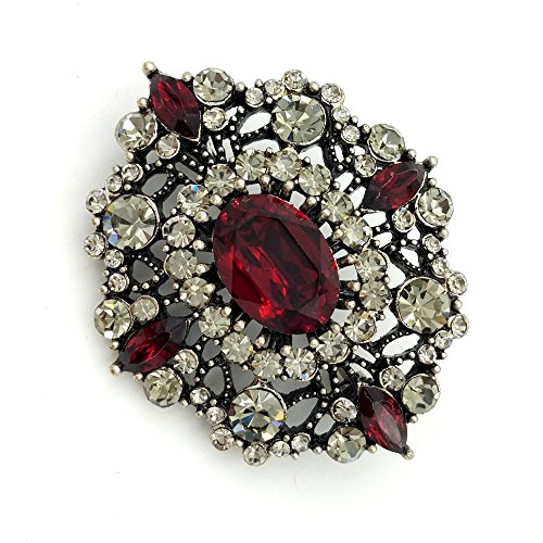 (DREAMLANDSALES Antique Gold Tone Geometric Foliate Filigree Oval Shaped Dark Red Art Deco Brooch (Red))