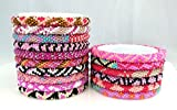 Handmade Crochet Glass Seed Bead Nepal Roll On Bracelets {SET of 10} Assorted Wholesale Pink Scheme