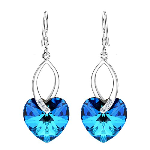 EleQueen 925 Sterling Silver CZ Love Heart French Hook Dangle Earrings Bermuda Blue Adorned with Swarovski Crystals