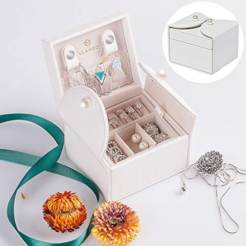 Vlando Akoya Two-Tier Small Jewlery Box, Daily Wearing Jewelries Organizer, Travel Accessories - White (Box Jewlary)