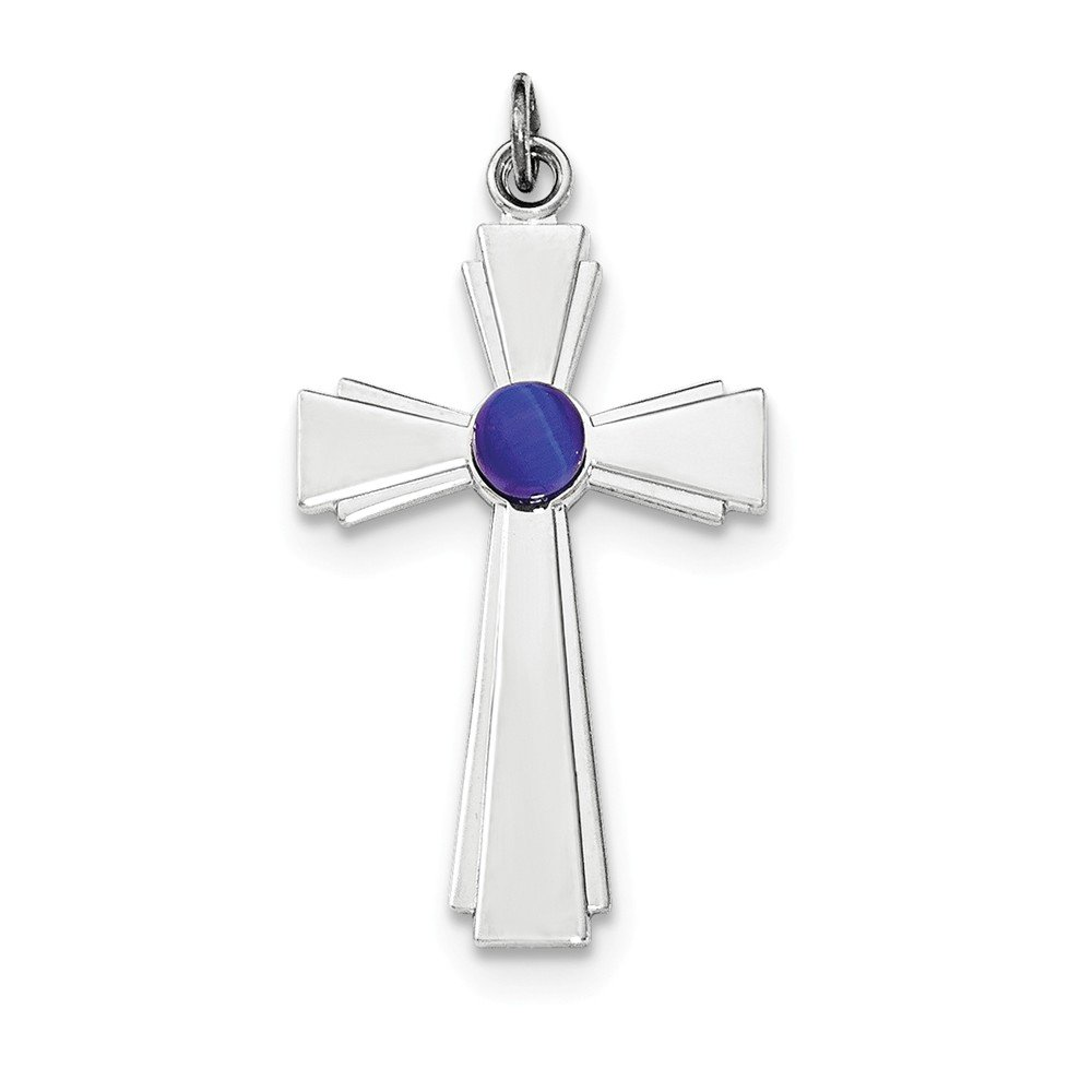 Mia Diamonds 925 Sterling Silver Polished with blue Cats Eye Cross Pendant